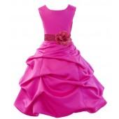 Fuchsia Matching Satin Pick-Up Bubble Flower Girl Dress 808T