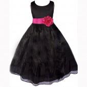 Black/Fuchsia Satin Bodice Organza Skirt Flower Girl Dress 841T