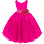 Fuchsia/Fuchsia Satin Bodice Organza Skirt Flower Girl Dress 841T
