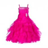 Fuchsia Rhinestone Organza Layers Flower Girl Dress Elegant Stunning 164S