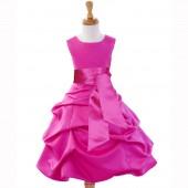 Fuchsia/Fuchsia Satin Pick-Up Bubble Flower Girl Dress V2 806S