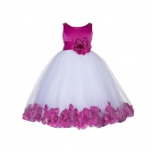 Fuchsia Floral Rose Petals Tulle Flower Girl Dress 167S