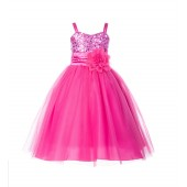 Fuchsia Spaghetti-Straps Sequin Tulle Flower Girl Dress Stunning B-1508NF