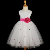 Fuchsia Rosebuds Satin Tulle Flower Girl Dress Special Occasions 815S