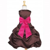 Brown/Fuchsia Satin Pick-Up Bubble Flower Girl Dress Occasions 808T