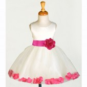 Ivory/Fuchsia Rose Petals Tulle Flower Girl Dress Pageant 305S