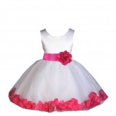 White/Fuchsia Rose Petals Tulle Flower Girl Dress Wedding 305S