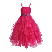 Fuchsia Satin Organza Sequin Spaghetti-Straps Flower Girl Dress 009