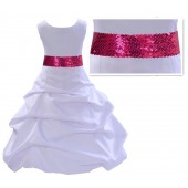 White Satin Pick-Up Bubble Flower Girl Dress Fuchsia Sequins 806mh