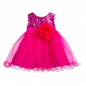 Fuchsia Glitter Sequin Tulle Flower Girl Dress Formal Princess B-011NF