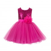 Fuchsia Dazzling Sequins Mesh Tulle Flower Girl Dress Elegant 124NF