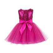 Fuchsia Sparkling Sequins Mesh Tulle Flower Girl Dress Stylish 124