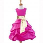 Fuchsia/Gold Satin Pick-Up Bubble Flower Girl Dress V2 806S