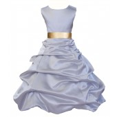 Silver/Gold Satin Pick-Up Bubble Flower Girl Dress Stylish 806S
