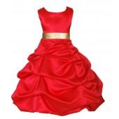 Red/Gold Satin Pick-Up Bubble Flower Girl Dress Christmas 806S