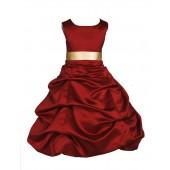 Apple Red/Gold Satin Pick-Up Bubble Flower Girl Dress 806S