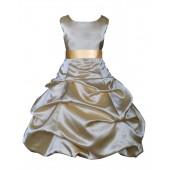 Matching Gold Satin Pick-Up Bubble Flower Girl Dress 806S