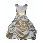 Gold/Gold Satin Pick-Up Bubble Flower Girl Dress Dazzling 806S