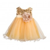 Gold Glitter Sequin Tulle Flower Girl Dress Formal Princess B-011NF