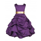 Purple/Gold Satin Pick-Up Bubble Flower Girl Dress Easter 806S