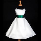 White/Green A-Line Satin Flower Girl Dress Wedding Bridal 821S