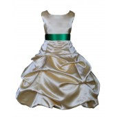 Gold/Green Satin Pick-Up Bubble Flower Girl Dress Dazzling 806S