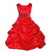 Red/Guava Satin Pick-Up Bubble Flower Girl Dress Christmas 806S