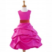 Fuchsia/Guava Satin Pick-Up Bubble Flower Girl Dress Elegant 808T