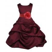 Burgundy/Guava Satin Pick-Up Bubble Flower Girl Dress Event 808T
