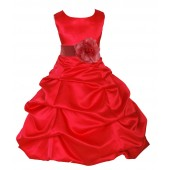 Red/Guava Satin Pick-Up Bubble Flower Girl Dress Christmas 808T