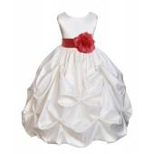 Ivory/Guava Satin Taffeta Pick-Up Bubble Flower Girl Dress 301T