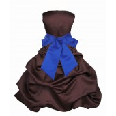 Brown/Horizon Satin Pick-Up Bubble Flower Girl Dress Occasions 806S