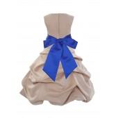 Champagne/Horizon Satin Pick-Up Bubble Flower Girl Dress Princess 806S