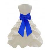 Ivory/Horizon Satin Pick-Up Bubble Flower Girl Dress Bridesmaid 808T