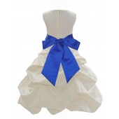 Ivory/Horizon Satin Pick-Up Bubble Flower Girl Dress Bridesmaid 806S