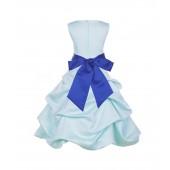 Mint/Horizon Satin Pick-Up Bubble Flower Girl Dress Party 806S