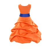 Orange/Horizon Satin Pick-Up Bubble Flower Girl Dress Halloween 806S