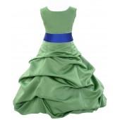 Clover Green/Horizon Satin Pick-Up Bubble Flower Girl Dress 806S