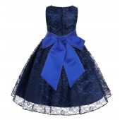 Navy / Horizon Floral Lace Overlay Flower Girl Dress Lace Dresses 163s