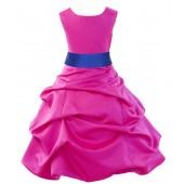 Fuchsia/Horizon Satin Pick-Up Bubble Flower Girl Dress Elegant 806S