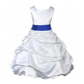 White/Horizon Satin Pick-Up Bubble Flower Girl Dress V2 806S