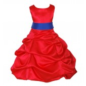 Red/Horizon Satin Pick-Up Bubble Flower Girl Dress Christmas 806S