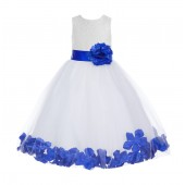 White / Horizon Floral Lace Heart Cutout Flower Girl Dress with Petals 185T
