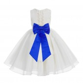 Ivory / Horizon Blue Lace Organza Flower Girl Dress 186T