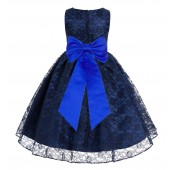Navy Blue / Horizon Floral Lace Overlay Flower Girl Dress Elegant Beauty 163T
