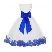 Ivory/Horizon Tulle Rose Petals Flower Girl Dress Pageant 302T