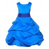 Royal Blue/Horizon Satin-Pick-Up Bubble Flower Girl Dress 806S