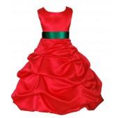 Red/Green Satin Pick-Up Bubble Flower Girl Dress Christmas 806S