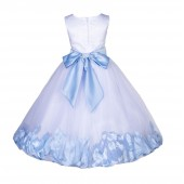 White/Ice Blue Lace Top Tulle Floral Petals Flower Girl Dress 165S