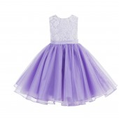 Lilac Lace Organza Flower Girl Dress 186